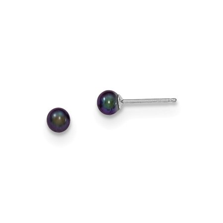 14kt White Gold 4mm Black Round Freshwater Cultured Pearl Stud Post Ball Button Earrings Fine Jewelry Ideal Gifts For Women Gift Set From Heart Combination Button Pearl Set