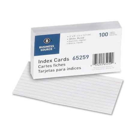Business Source Ruled Index Card   100   160 G M   Ruled   5  X 3    100   Pack   White Paper  Bsn65259