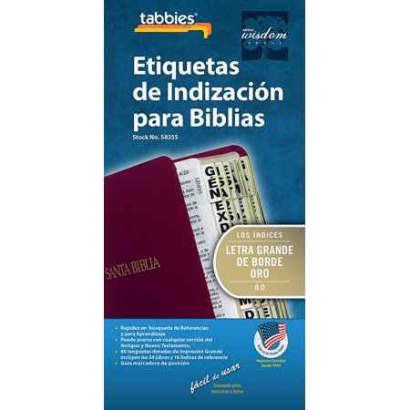 Large Print Gold-Edged Spanish Bible Indexing Tabs, Old & New Testaments,  84 Tabs Including 64 Books & 20 Reference Tabs (58355) Tabbies - Large  Print