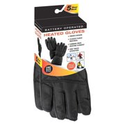 Mens Black Thermal Fleece Battery Heated Winter Gloves