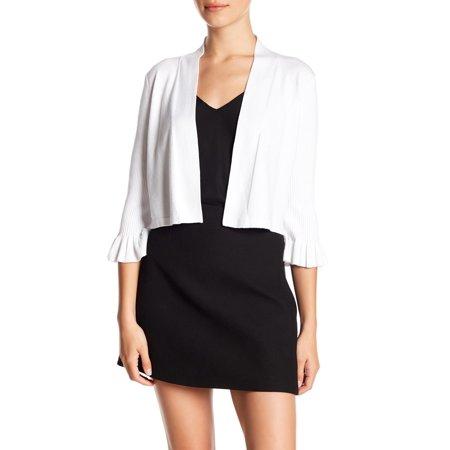 Women's Large Open Front Ruffle Sleeve Knit Cardigan PL ()