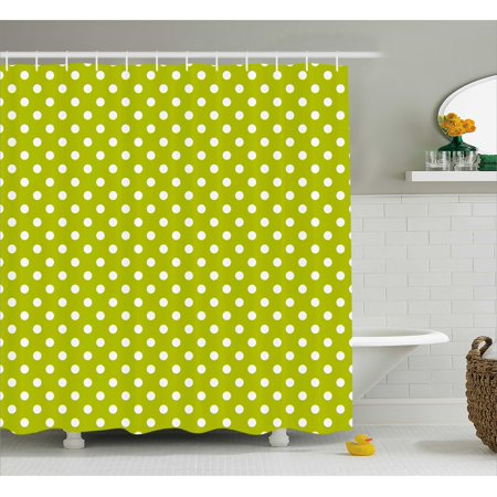Retro Shower Curtain Vintage Old Fashioned 60s 70s Inspired Polka Dots Pop Art Style Print Fabric Bathroom Set With Hooks Lime Green And White