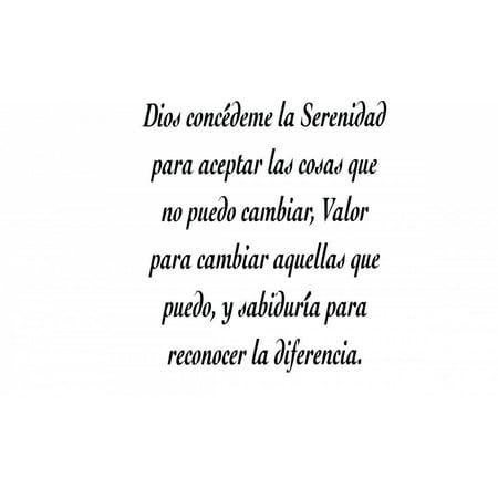 Halloween Quotes In Spanish (Custom Wall Decal Custom Vinyl Lettering s - 'Dios concedeme la serenidad para.. - Spanish Quotes Sticker - Vinyl Wall)