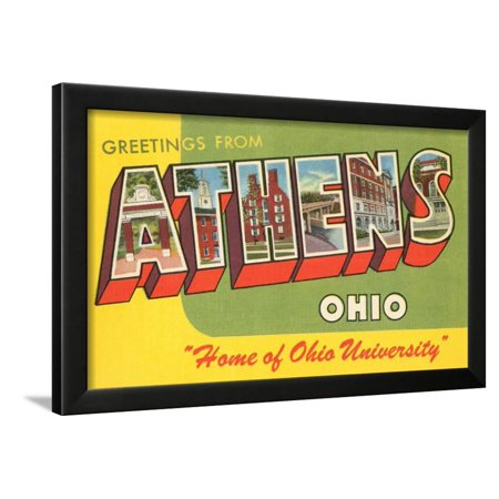 Greetings from Athens, Ohio Framed Print Wall Art