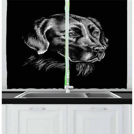 Labrador Curtains 2 Panels Set, Artsy Sketch Portrait of Retriever Puppy with Calm Face Best Friend Pattern, Window Drapes for Living Room Bedroom, 55W X 39L Inches, Black and Grey, by