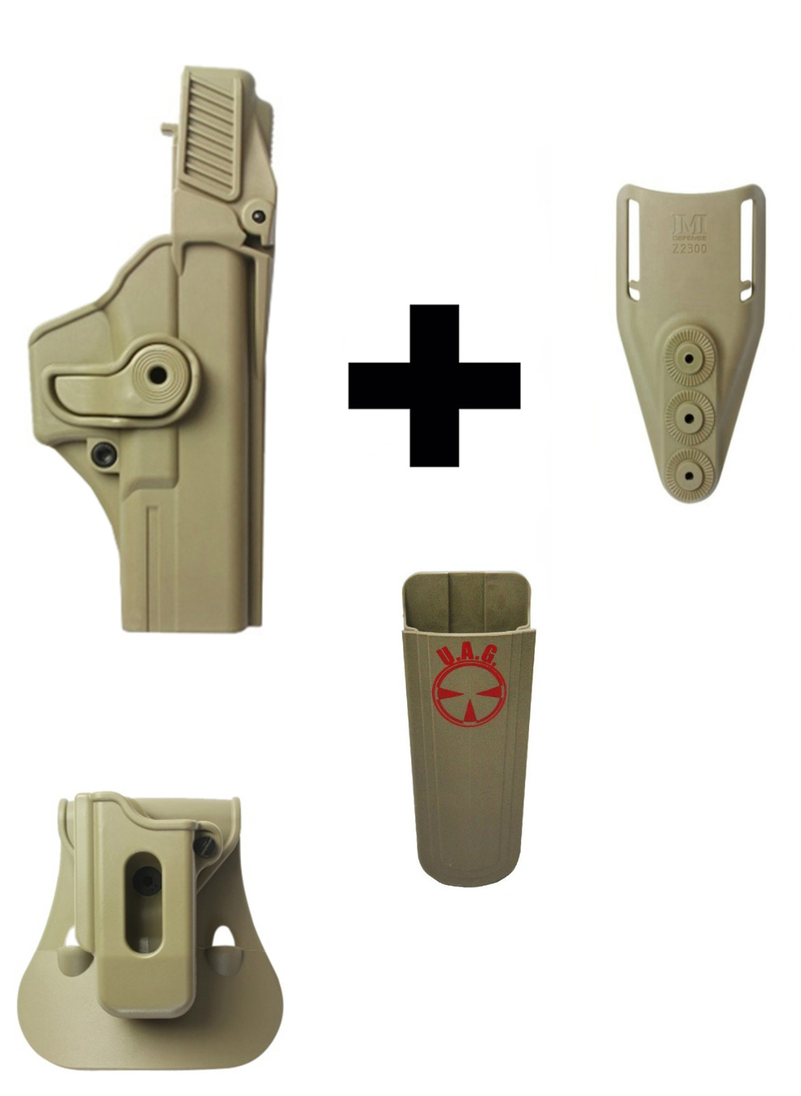 IMI Defense ZSP08 Single Mag Pouch & Paddle + Z1410 Level 3 360� Rotate Holster Glock 17 22 31 Gen 4, Tan + Z2300 Low... by
