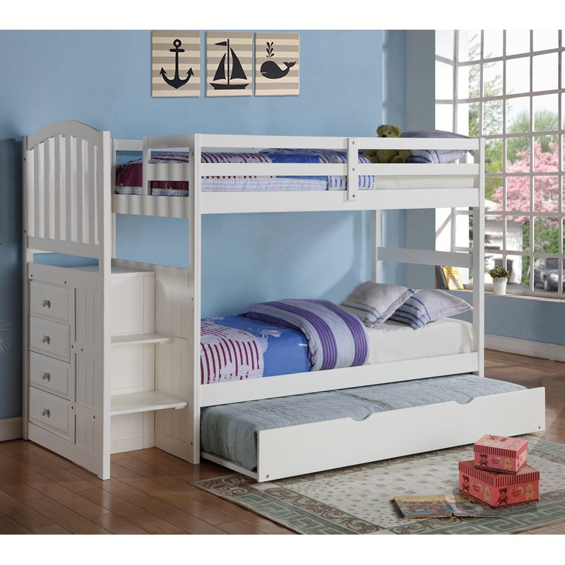 Donco Arch Mission Twin over Twin Stairway Bunk Bed - White