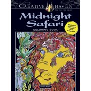 Creative Haven Coloring Books: Creative Haven Midnight Safari Coloring Book: Wild Animal Designs on a Dramatic Black Background (Paperback)
