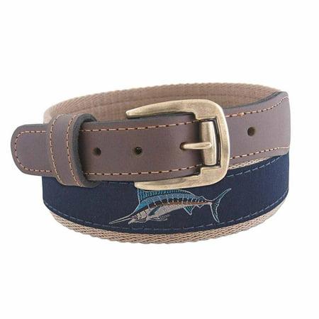 ZEP PRO Mens Action Marlin Roller Buckle Ribbon Belt (Navy,