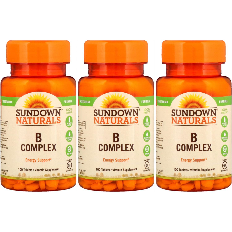 3 Pack - Sundown Naturals B Complex Tablets 100 Tablets Each