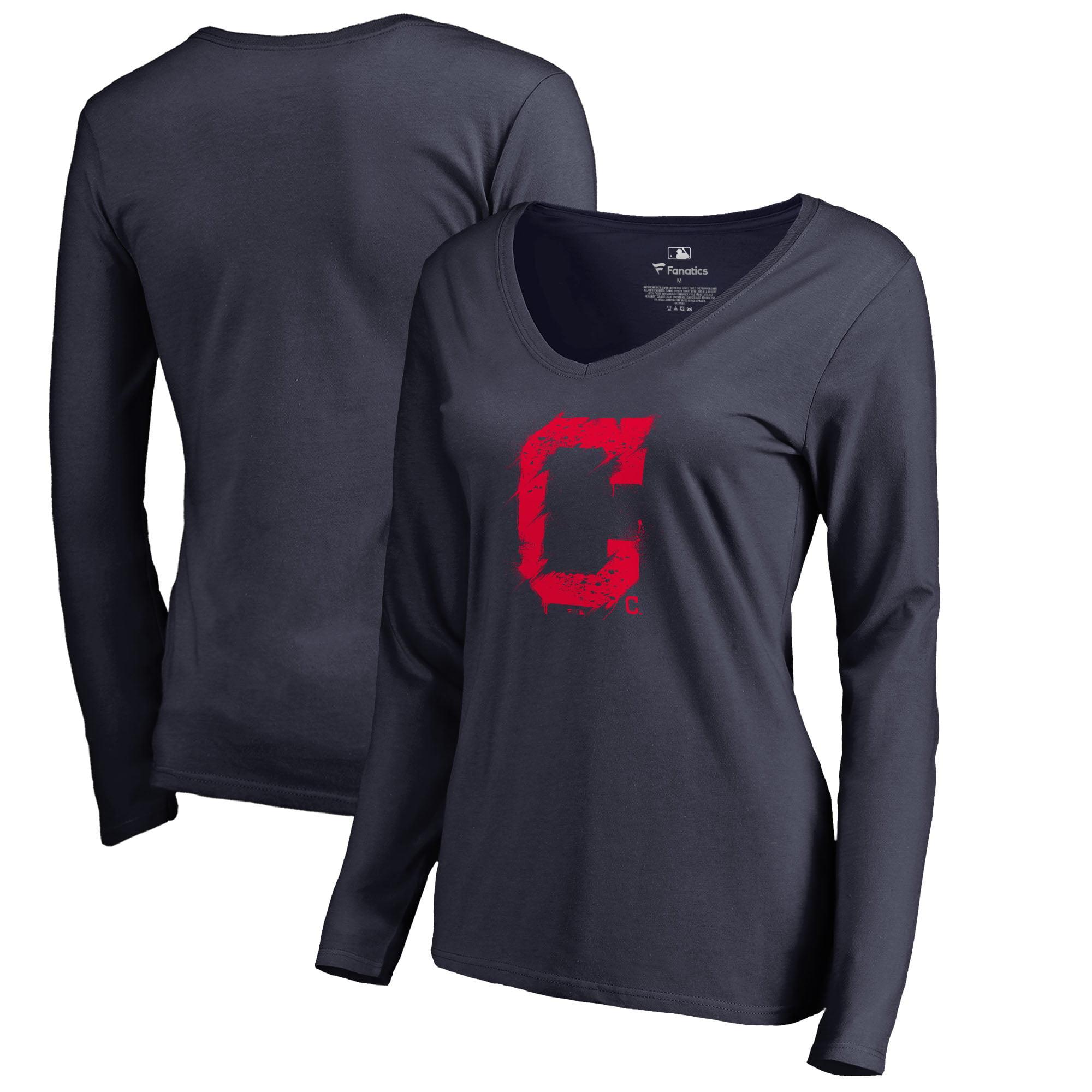 Cleveland Indians Fanatics Branded Women's Splatter Logo Long Sleeve V-Neck T-Shirt - Navy