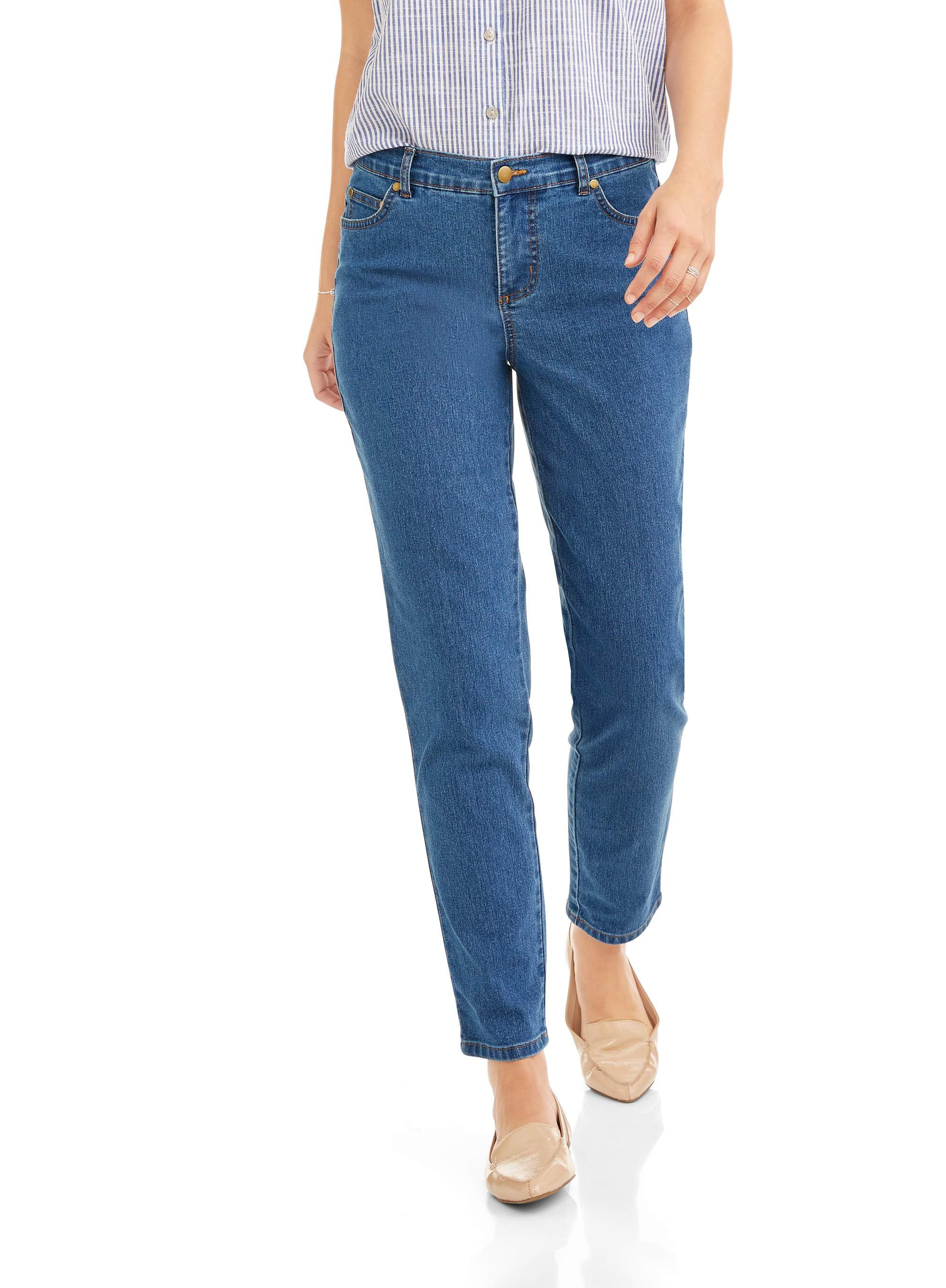 Women's Stretch Denim 5-Pocket Jeans with Back Elastic