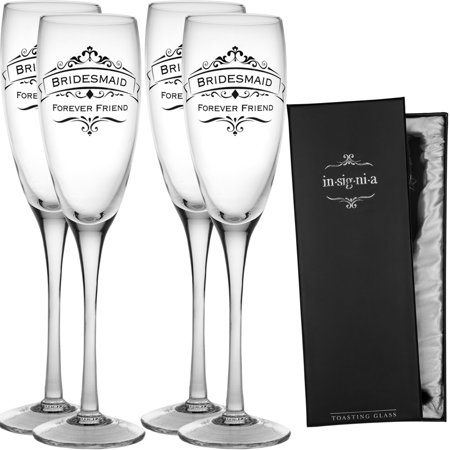 Enesco Set of 4 Wedding Champagne Flute Toasting 11oz Glass Set Pack For Bridesmaids Groomsmen](Bridesmaid Champagne Flutes)