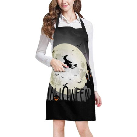 ASHLEIGH Halloween Background of Witch On The Full Moon Unisex Adjustable Bib Apron with Pockets for Women Men Girls Chef for Cooking Baking Gardening Crafting
