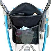 Lightweight Baby Stroller Organizer Mesh Bag, 2 Layer Organizer Pocket with Lid, Durable Hanging Organizer Bag for All Pram (Black)
