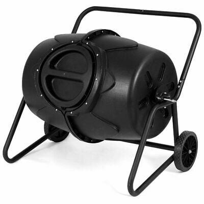50 Gallon Wheeled Compost Tumbler Garden Waste Bin Grass Trash Barrel Fertilizer ()