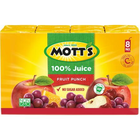 (4 Pack) Mott's 100% Juice Boxes, Fruit Punch, 6.75 Fl Oz, 8