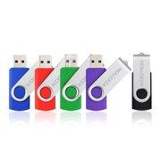 KOOTION 5 Pack 16GB USB 2.0 Flash Drive Thumb Drives Memory Stick, 5 Mixed Colors: Black, Blue, Green, Purple, Red