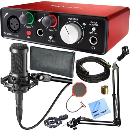 Focusrite Scarlett Solo (2nd Gen) USB Audio Interface with Pro Tools plus Audio-Technica AT2035 Condenser Microphone and DecoGear Pop Filter Wind Screen with Mic Stand Studio