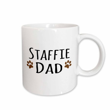 3dRose Staffie Dog Dad - Staffordshire Bull Terrier - brown paw prints - Doggie by breed - doggy lover - Ceramic Mug, 11-ounce