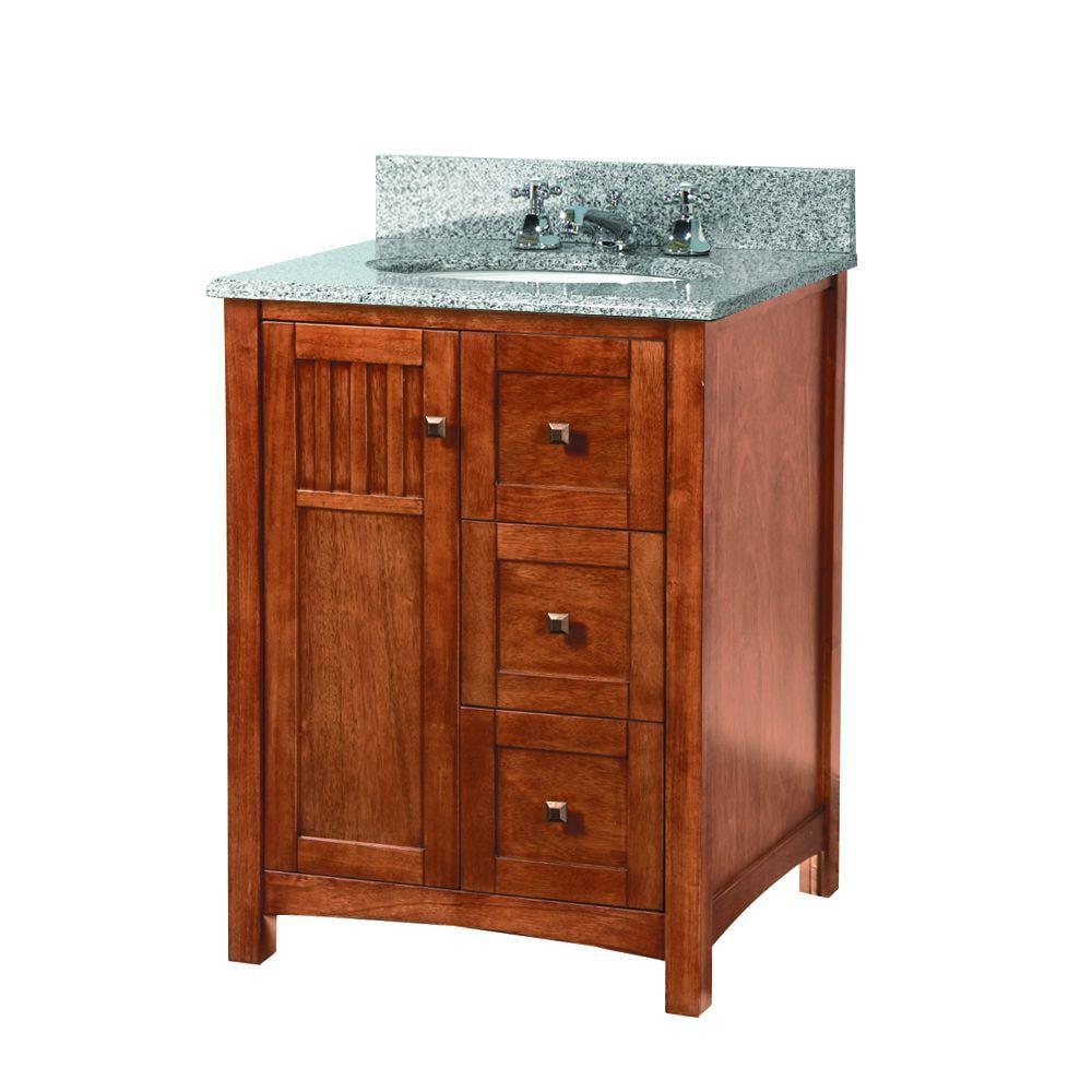 """Foremost KNCARG2522D Knoxville 25"""" W x 22"""" D Vanity in Nutmeg w/ Granite Vanity Top in Rushmore Grey"""