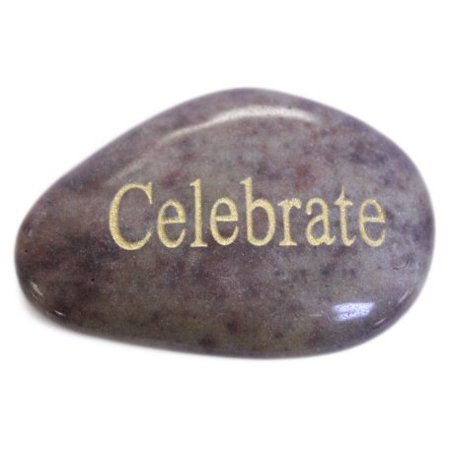 Inspirational Message Stones Engraved with Uplifting Words of Wisdom - Celebrate, Genuine stone By Fun