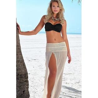 Women Long Elasticated Sheer Open Beachwear Blouse Corset Skirt