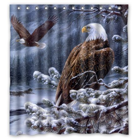 HelloDecor American Bald Eagle and Snow Shower Curtain Polyester Fabric Bathroom Decorative Curtain Size 66x72 Inches