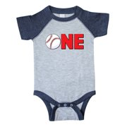 Inktastic One with Baseball Baby's First Birthday Infant Short Sleeve Bodysuit Unisex Heather and Navy 18 Months