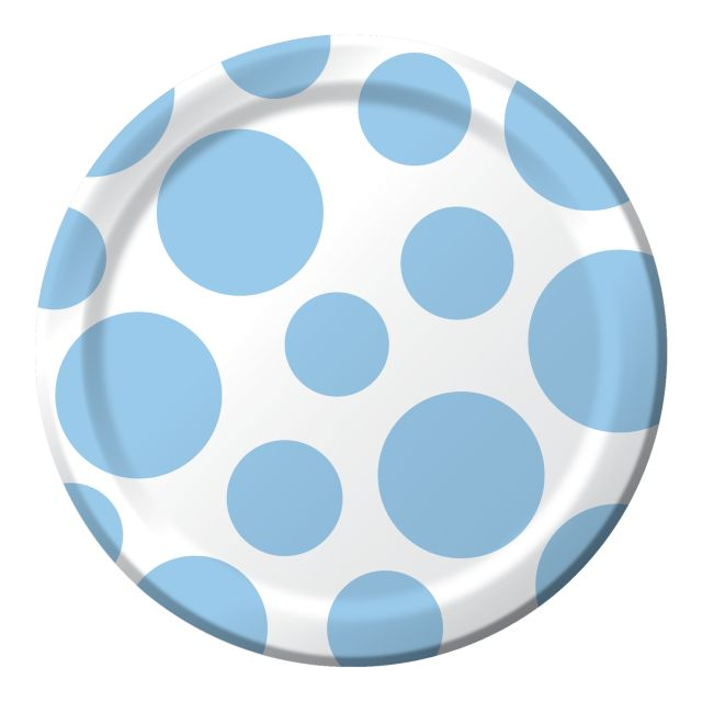 "Party Creations Chevron & Polka Dots Lunch Plate, 7"", Pastel Blue, 8 Ct"