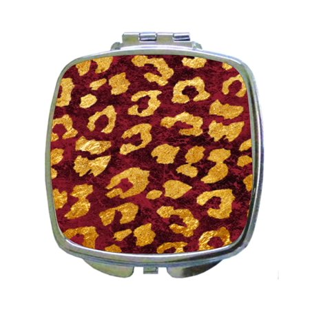 Grungy Gold Leopard Animal Print on Burgundy Grunge - Compact Square Face/Makeup Mirror