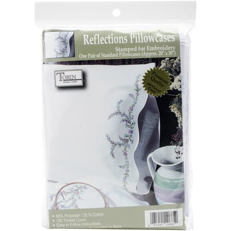 Tobin Reflections Stamped Pillowcase Pair For Embroidery, 20