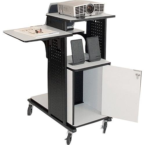 H. Wilson Company 4-Shelf Presentation Station AV Cart with Security Cabinet