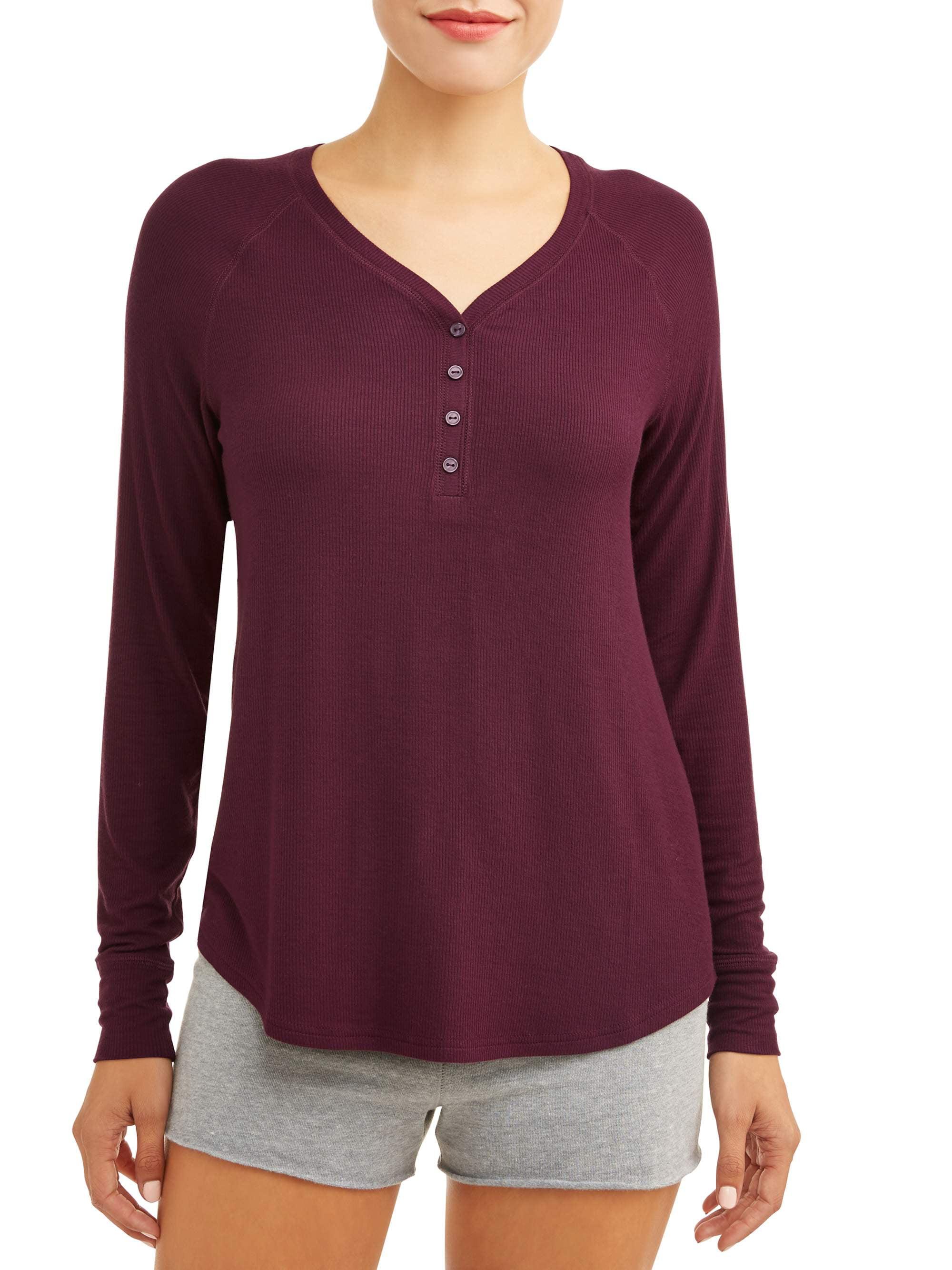 43063acac4cdc Secret Treasures - Secret Treasures Essentials Women s Long Sleeve Sleep  Rib Henley Top - Walmart.com