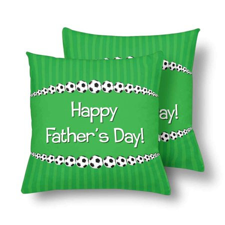 GCKG Soccer theme Father's Day Card Throw Pillow Covers 18x18 inches Set of 2 - image 3 of 3
