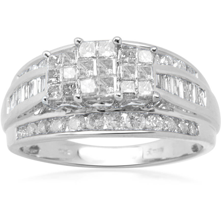 1 Carat T.W. Diamond 10kt White Gold Bridal Set by Generic