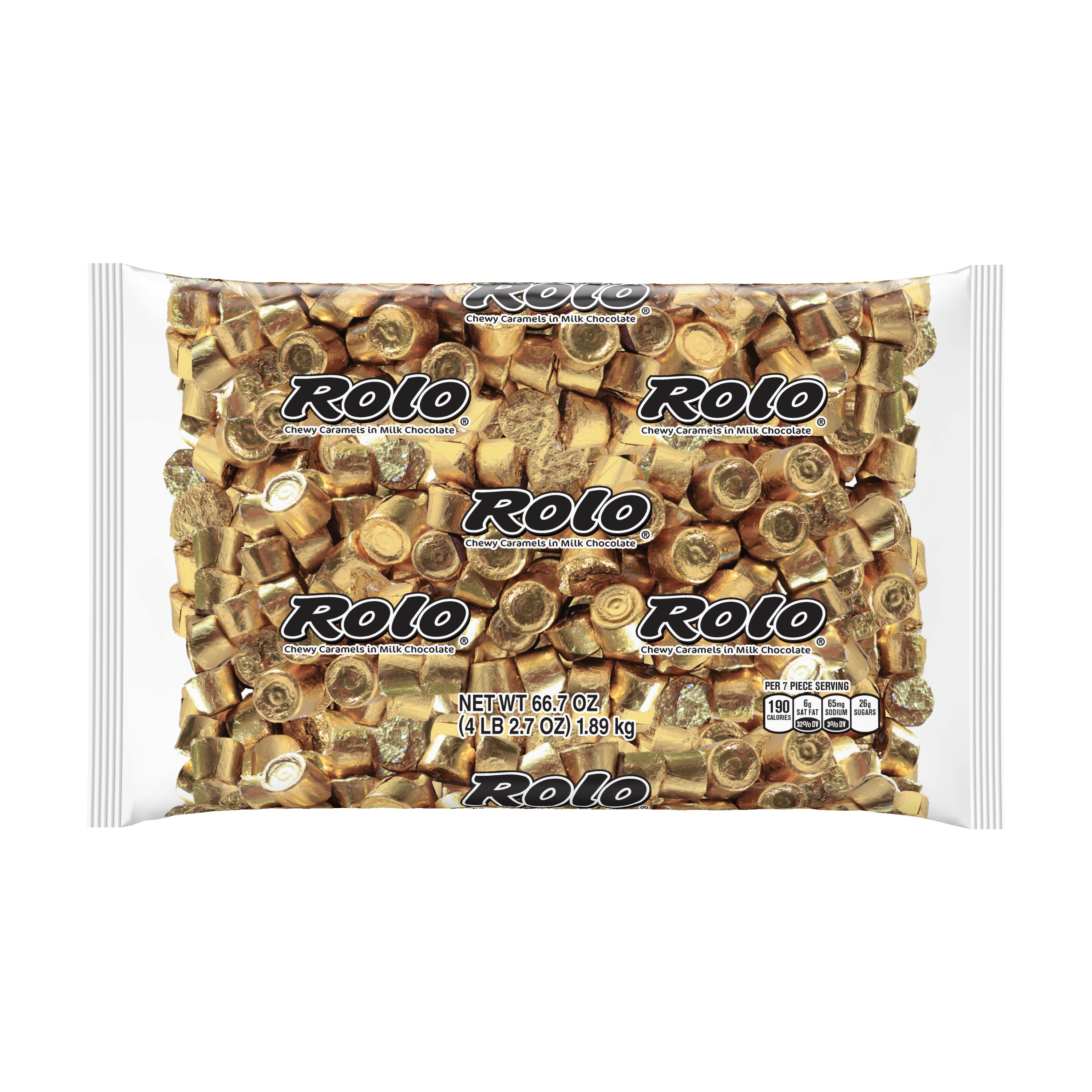 ROLO® Chocolate Caramel Candy, Individually Wrapped, 66.7 oz, Bulk Bag