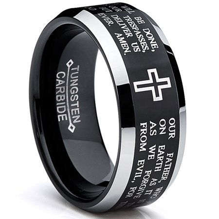 8MM Black LORD'S PRAYER Tungsten Ring Wedding Band Sizes 7 to 13