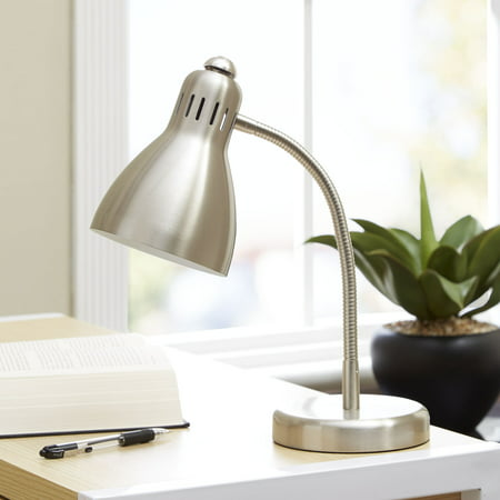 Mainstays Metal Gooseneck Desk Lamp, CFL Bulb Included