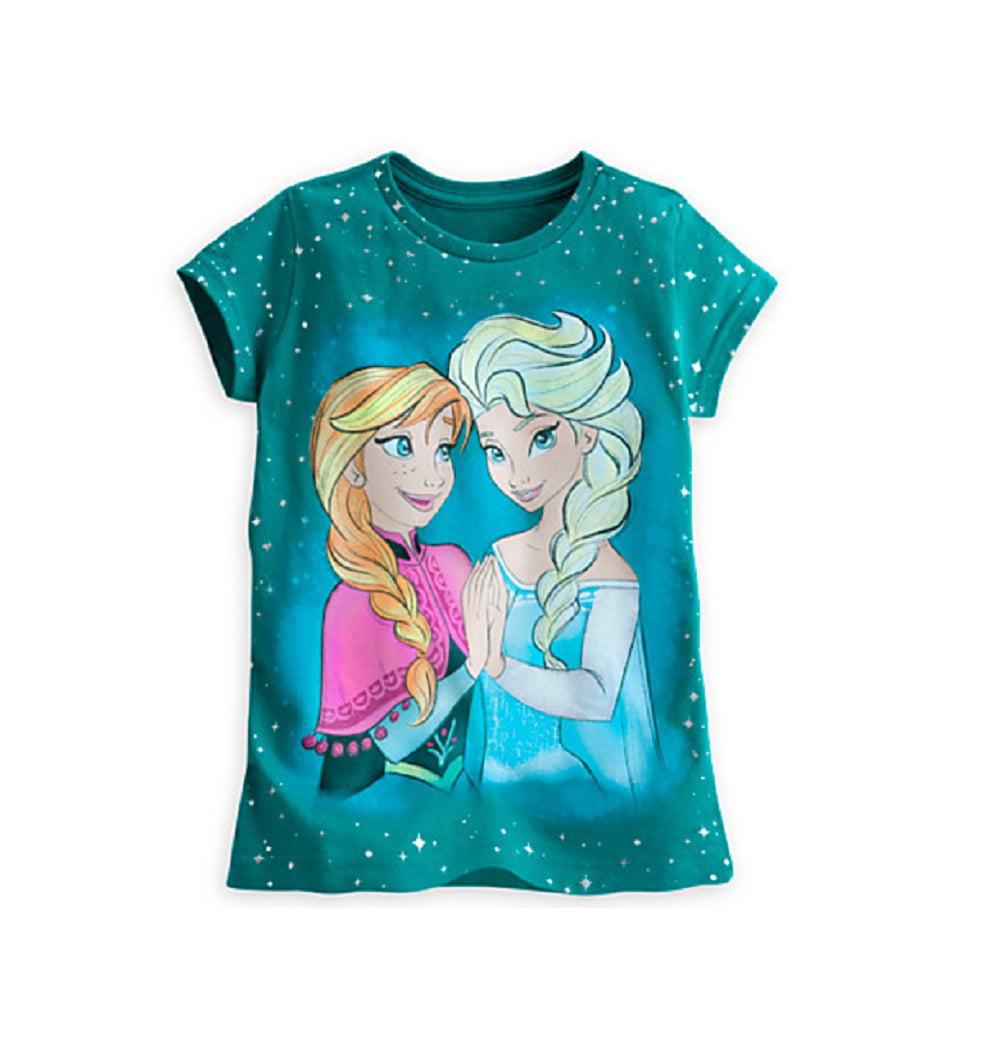 Disney Store Girls Anna & Elsa - Frozen - Star Short Sleeve T-Shirt, Teal