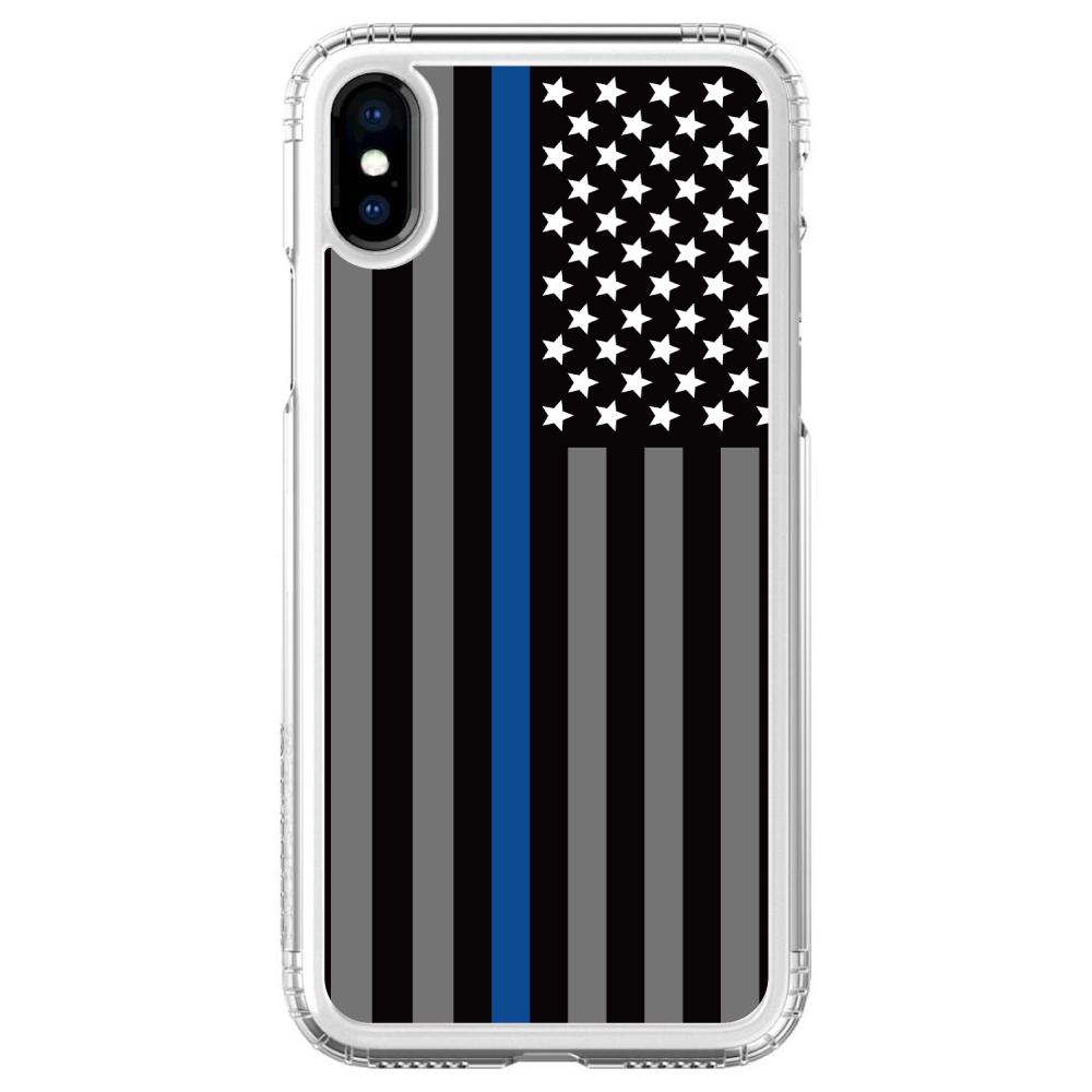 """SaharaCase iPhone X / XS (5.8"""" Screen) Clear Shockproof Custom Case By DistinctInk - Protective Kit & ZeroDamage Screen Protector - Thin Blue Line US Flag Law Enforcement"""