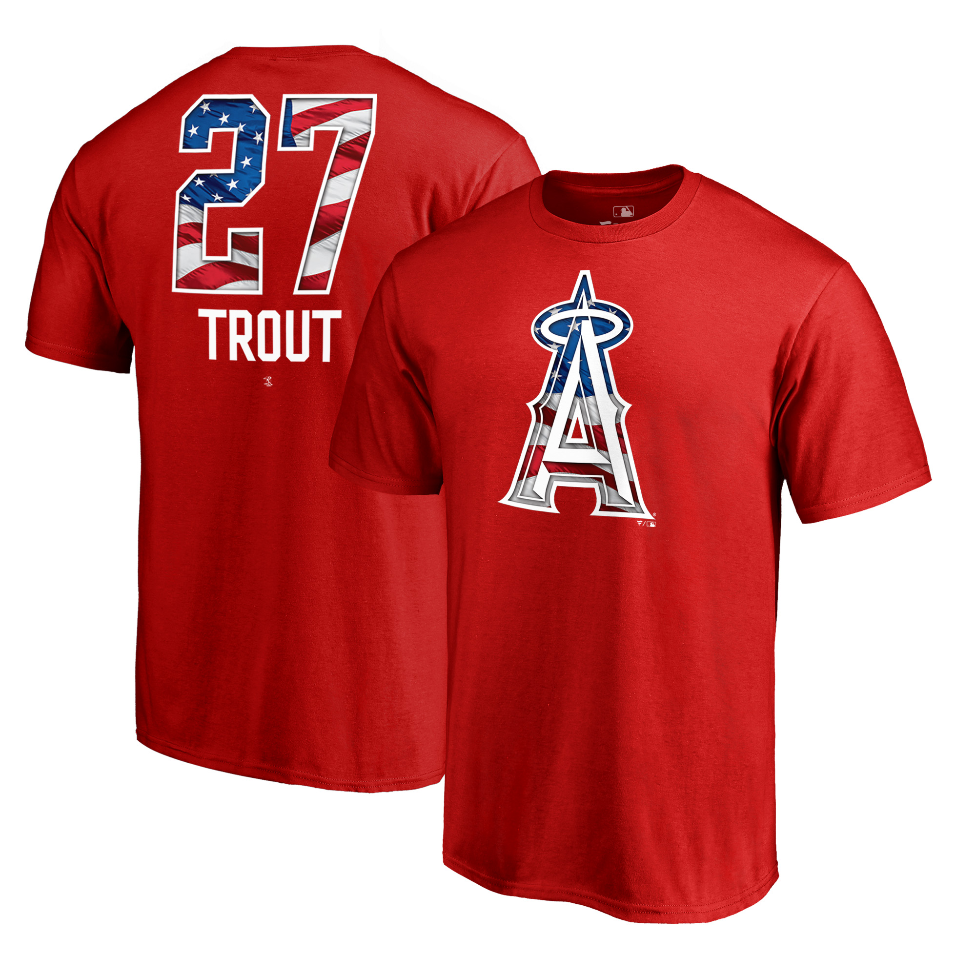 Mike Trout Los Angeles Angels Fanatics Branded 2018 Memorial Day Banner Wave Player T-Shirt - Red