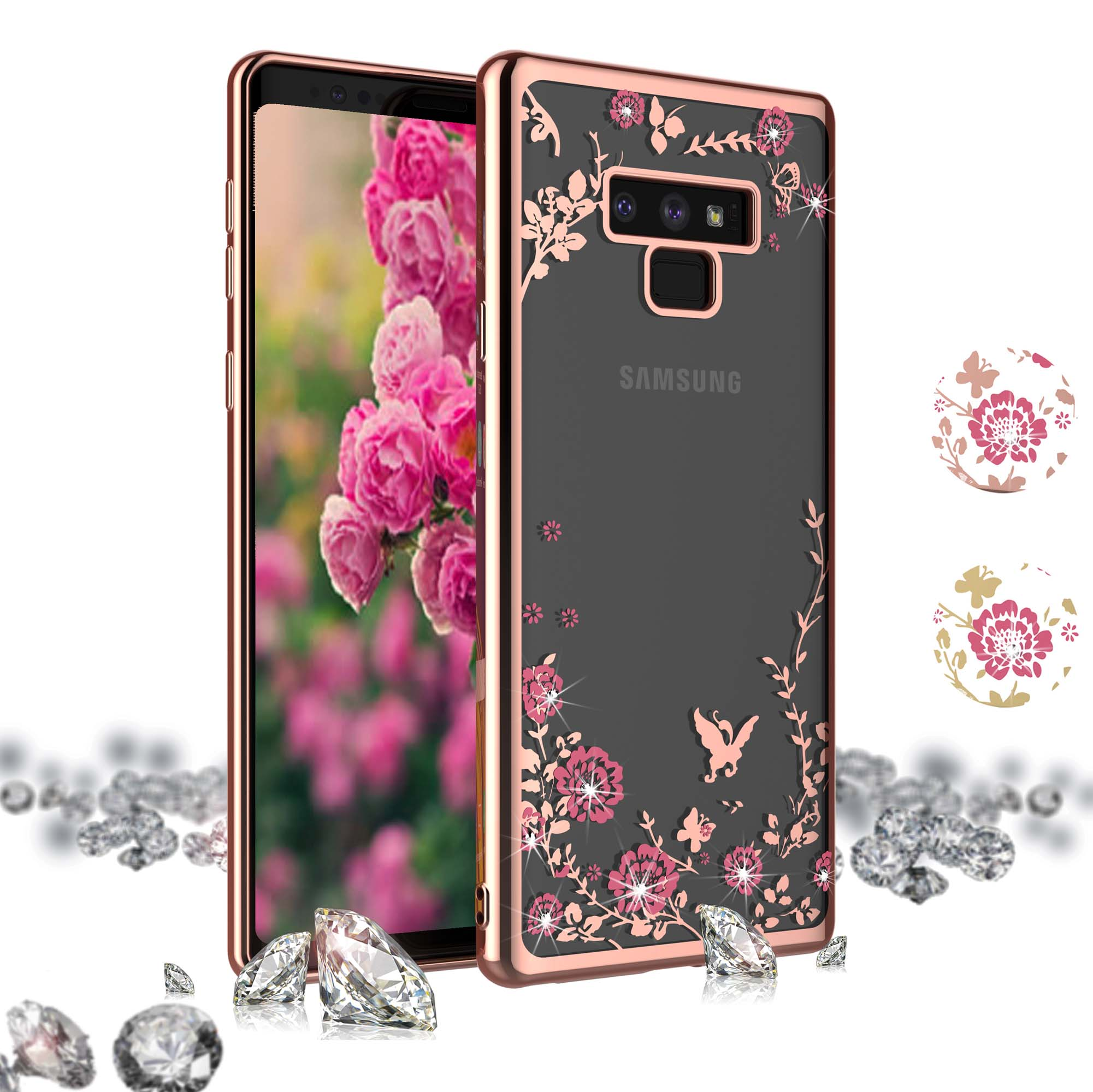 """Galaxy Note 9 Case, Samsung Note 9 Clear Cover, Njjex Crystal Clear Floral Pattern Shock Absorption Bling Glitter Sparkle Hard Slim Case TPU Bumper Cover For Samsung Galaxy Note 9 6.4"""" (2018)"""