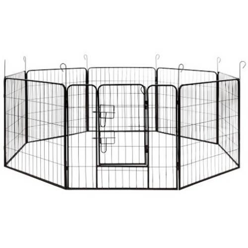 "ALEKO DK32X32 Heavy Duty Pet Playpen Dog Kennel Pen Exercise Cage Fence, 8-Panel, 32"" x 32"""