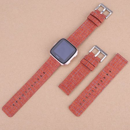 SDFB-002 Watch Band Fitbit Strap Canvas Plaid Wrist Strap Replacement Wristband for Fitbit Versa Fitness Smart Watch - image 5 de 7