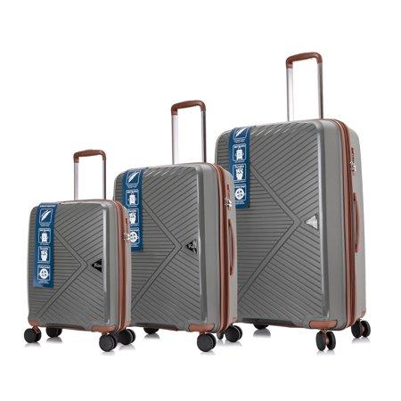 Bronco Polo 3 Pcs, Polypropylene Spinner Luggage Set Premium Gray Green