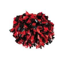 Pizzazz Red Black 2 Color Plastic Cheer Single Pom Pom