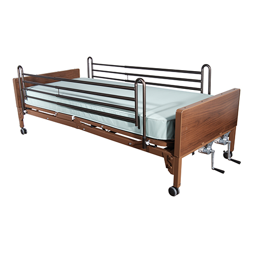 Drive Medical Manual Bed With Full Length Side Rails And 80 Inches Inner Spring Mattress, Brown Vein - 1 Ea, 15003Bv-Pkg