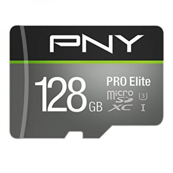 PNY U3 Pro Elite 128GB Microsd Flash Memory Card (P-SDUX128U395PRO-GE)