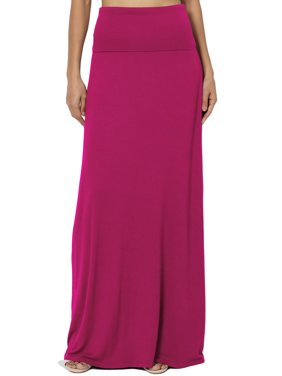 TheMogan Women's S~3X Casual Draped Jersey Foldable Waist Relaxed Long Maxi Skirt